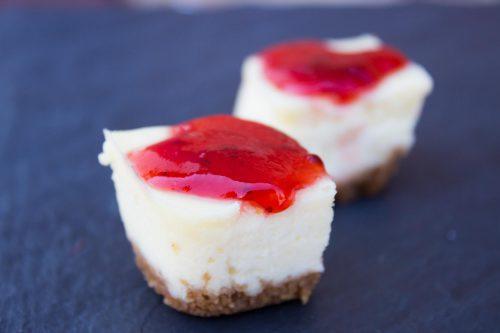 Cheesecake Bites with Strawberry Glaze
