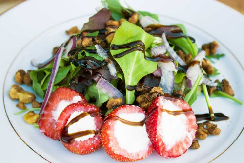Goat Cheese Stuffed Strawberry Salad